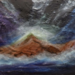 A painting of a mountain in an ocean during a storm