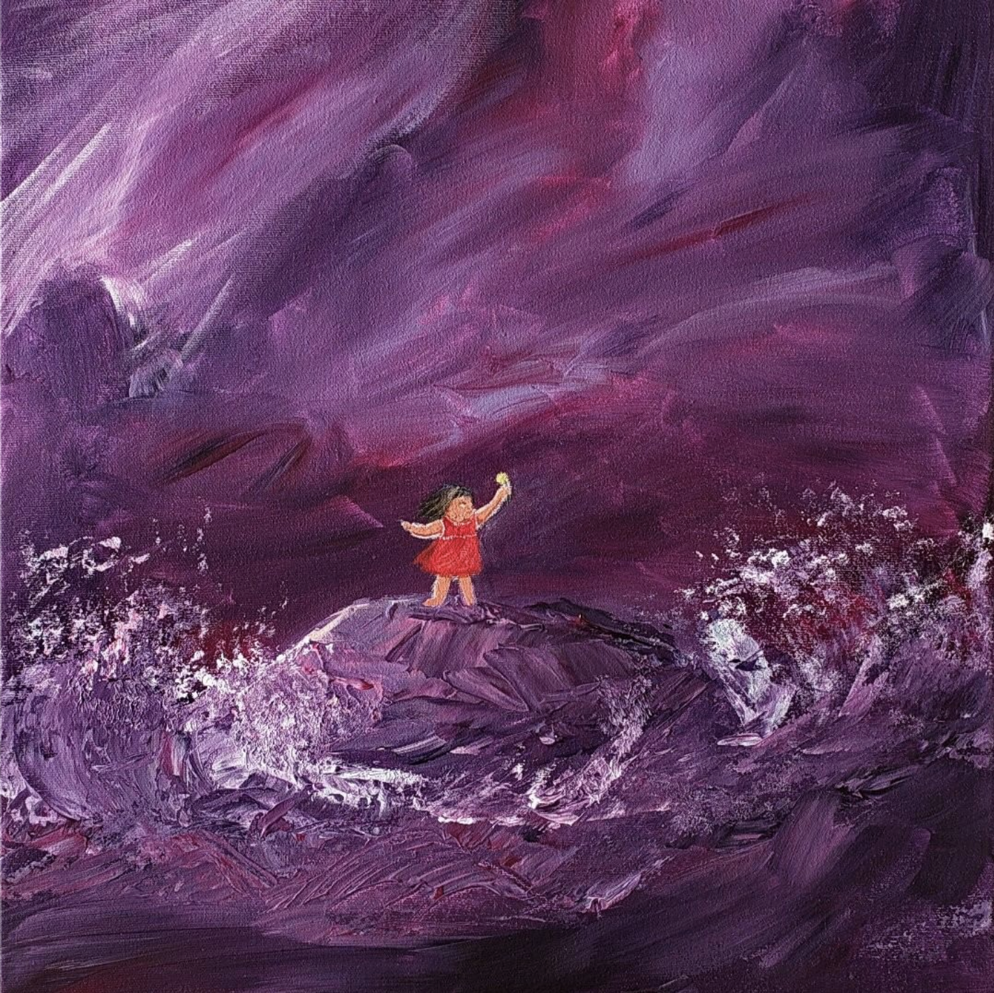 A painting of a child in a red dress holding a gift up to the sky, while waves crash nearby.
