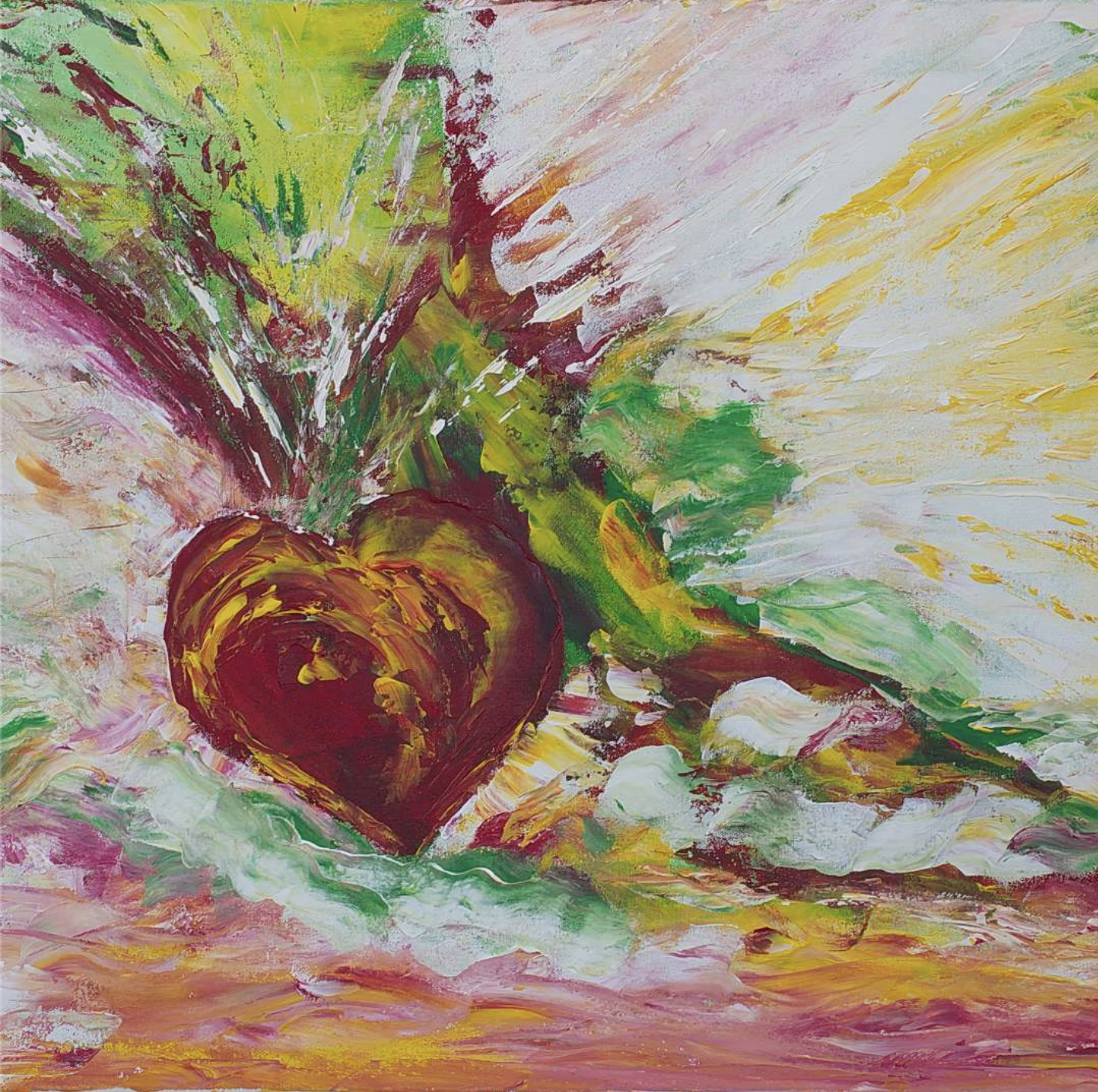 An colourful painting of a heart