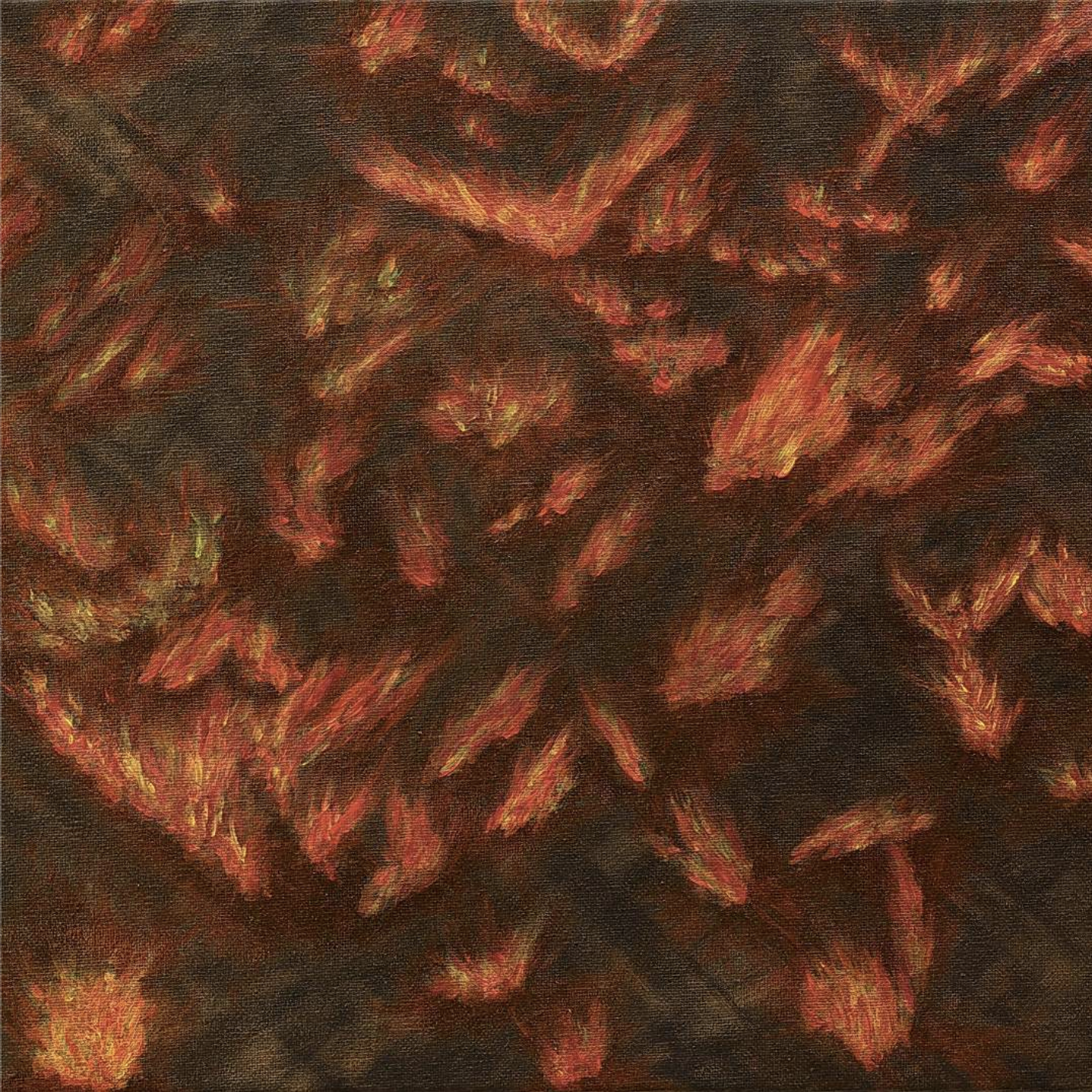An abstract painting of a wildfire.