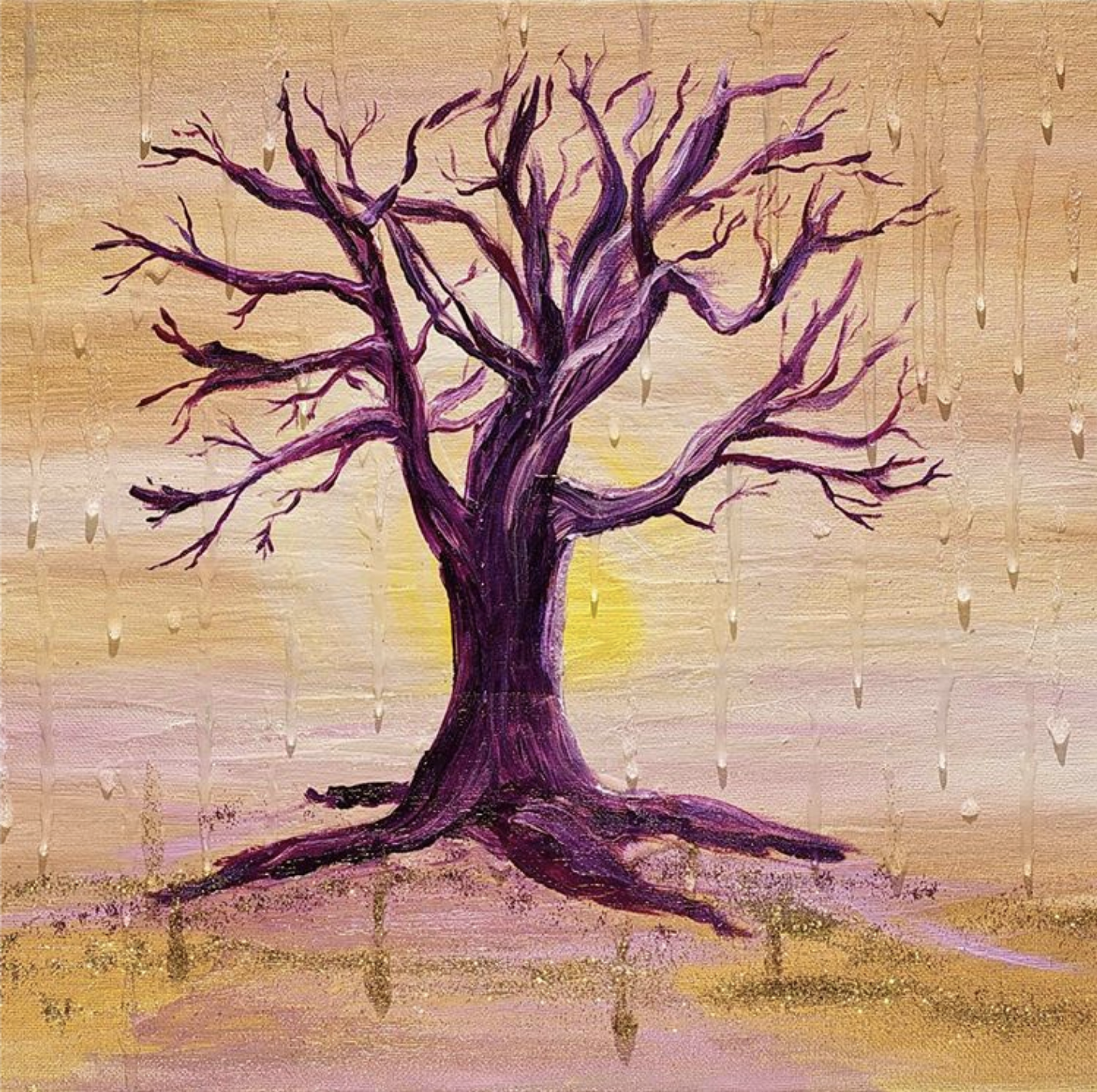 A fig tree painted in purple on a beige background